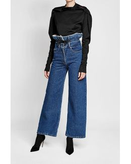 Wide Leg Jeans With Double Waist