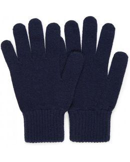Men's Cashmere Wool Gloves In Navy