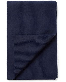 Cashmere Wool Scarf In Navy