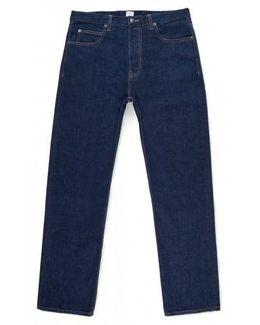 Men's Japanese Denim Straight Leg Jeans In Navy Denim
