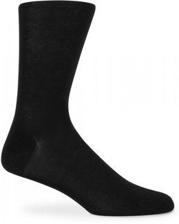 Men's Mercerised Cotton Socks In Black