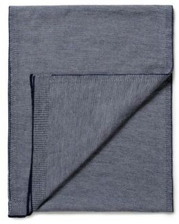 Merino Wool Scarf With Feeder Stripe In Navy / Off White
