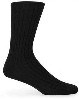 Men's Merino Cotton Socks In Black