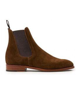 Men's Suede Chelsea Boot In Tan