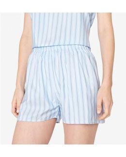 Women's Silk Boxer Shorts In Blue Stripe