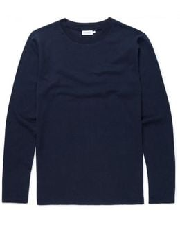 Men's Cotton Cellulock T-shirt With Ribbed Cuffs In Navy