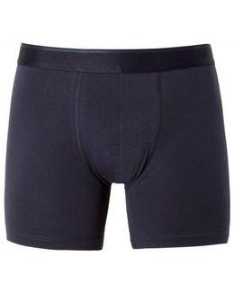 Men's Long Leg Stretch Cotton Boxer Shorts In Navy