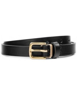 Smooth Narrow Leather Belt In Black
