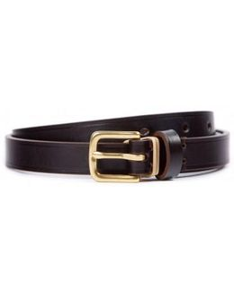 Smooth Narrow Leather Belt In Brown