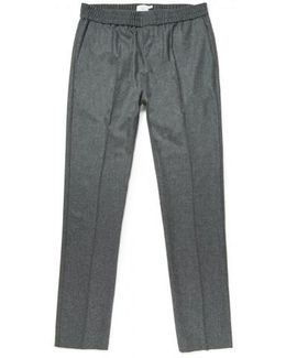 Men's Wool Cashmere Flannel Drawstring Trouser In Grey Melange