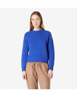 Women's Lambswool Boxy Crew Neck In Klein Blue