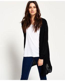 Rayon Hood Fine Knit Cardigan