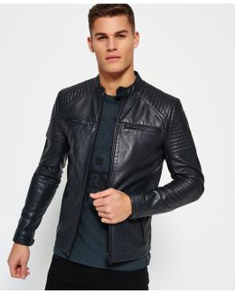 Leather Quilt Racer Jacket