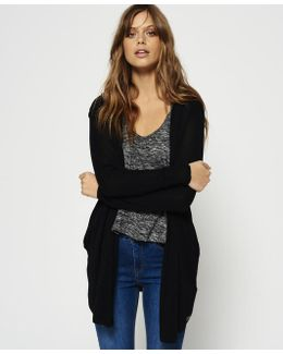 Rayon Hooded Fine Knit Cardigan