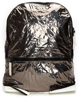 Metallic Textile And Leather Backpack