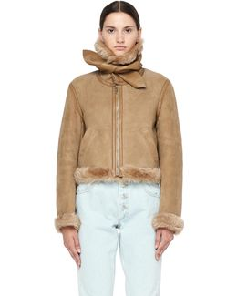 Shearling Beige Jacket With Scarf