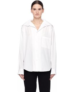 White Cotton Shirt With Stand Collar