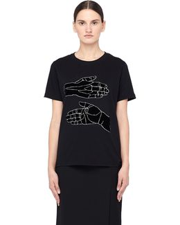Cotton T-shirt With Velvet 'hands' Patch