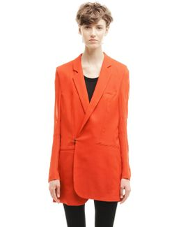 Wool Jacket With Silk Sleeves