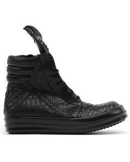 Python Leather Hi-top Sneakers