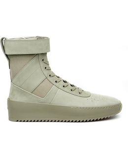 Leather And Nylon Military Sneakers