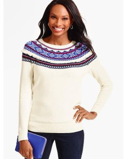 Fringed Snowflake Fair Isle Sweater