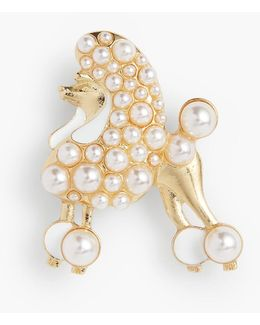 Pearl Poodle Pin