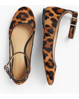 Olympia Ankle-strap Flat - Leopard Haircalf