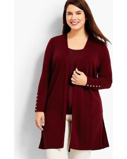 Womans Exclusive Ribbed Duster Cardigan