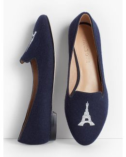 Ryan Embroidered Flats - Flannel/eiffel Tower