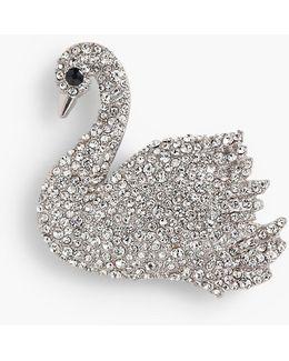 Shimmering Rhinestone Swan Pin