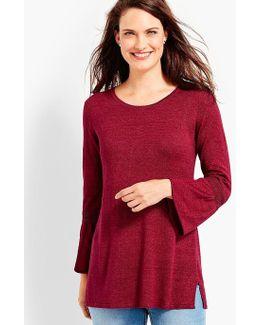 Flounce-sleeve Linen Sweater