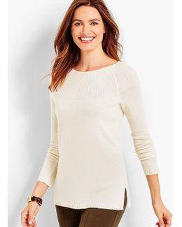 Ribbed-yoke Cashmere Bateau Sweater