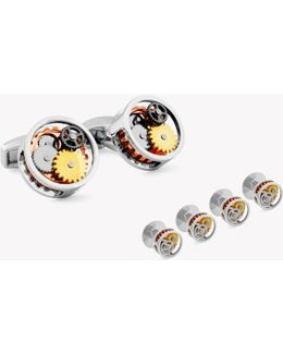 Round Gear Stud Set In Gold Colour