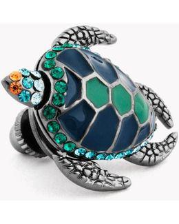 Mechanical Turtle Pin In Gunmetal Plating