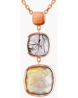 14k Rose Gold Belgravia Drop Necklace With Black And Gold Rutilated Quartz