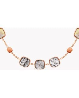 14k Rose Gold Belgravia Necklace With Gold And Black Rutilated Quartz