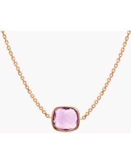 14k Rose Gold Belgravia Single Stone Necklace With Amethyst