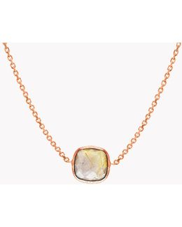 14k Rose Gold Single Stone Necklace With Gold Rutilated Quartz
