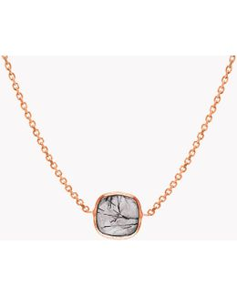 14k Rose Gold Single Stone Belgravia Necklace With Black Rutilated Quartz