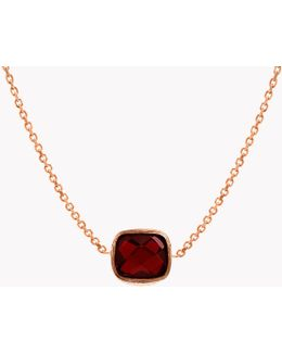 14k Rose Gold Single Stone Belgravia Necklace With Garnet