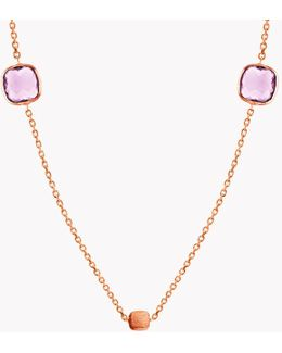 14k Rose Gold Multi Stones Belgravia Necklace With Amethyst And London Blue Topaz