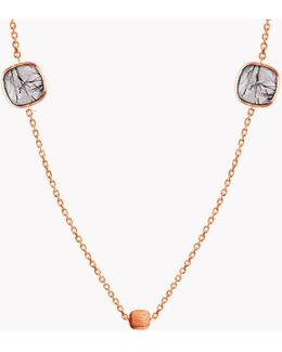 14k Rose Gold Multi Stones Belgravia Necklace With Gold And Black Rutilated Quartz