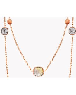 14k Rose Gold Long Belgravia Necklace With Gold And Black Rutilated Quartz