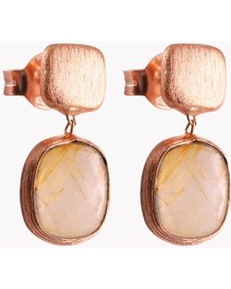 14k Rose Gold Belgravia Earrings With Gold Rutilated Quartz