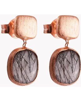 14k Rose Gold Belgravia Earrings With Black Rutilated Quartz
