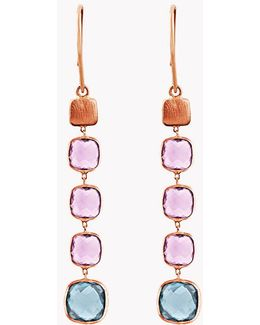 14k Rose Gold Belgravia Drop Earrings With Amethyst And London Blue Topaz