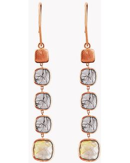 14k Rose Gold Belgravia Drop Earrings With Gold And Black Rutilated Quartz