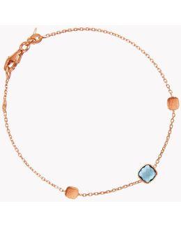 14k Rose Gold Single Stone Belgravia Bracelet With London Blue Topaz