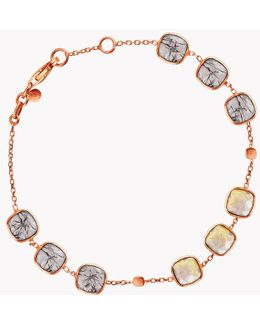 14k Rose Gold Belgravia Bracelet With Gold And Black Rutilated Quartz